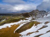 与雪的冰岛风景 免版税库存图片