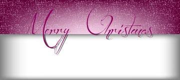 与雪的圣诞快乐文本的横幅和长方形 库存例证