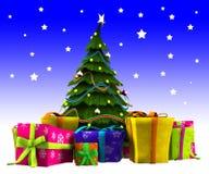 与雪的圣诞树 库存图片