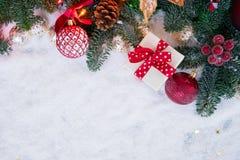 与雪的圣诞节场面 图库摄影