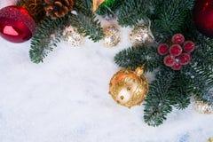 与雪的圣诞节场面 免版税图库摄影