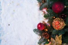 与雪的圣诞节场面 免版税库存照片