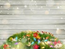 与雪的圣诞节木头 10 eps 免版税库存照片