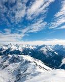 与雪的山在冬天,阿尔卑斯,奥地利 免版税库存照片