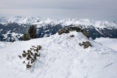与雪的山边缘埋没了树和岩石 库存图片