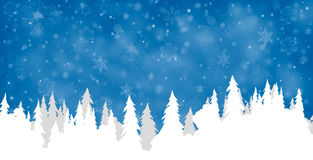 与雪的杉木剪影 库存照片
