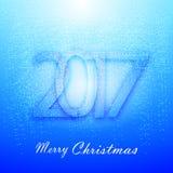 与雪的柔和的蓝色圣诞节背景 库存例证