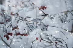 与雪的树在冬天公园 免版税图库摄影