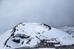 与雪的火山的火山口 库存图片