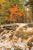 与雪的秋天风景 免版税库存图片