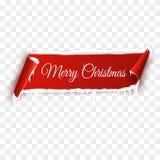 与雪的红色现实详细的弯曲的纸圣诞快乐在透明背景隔绝的横幅和冰柱 免版税图库摄影
