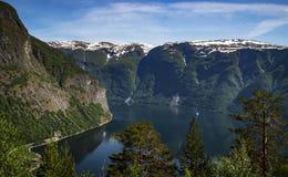 与雪的绿色山包围的蓝色海湾在上面 免版税库存照片