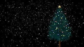 与雪的转动的圣诞树 免版税库存图片