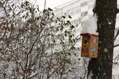 与雪的鸟舍在屋顶 库存照片