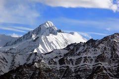与雪的Stok Kangri峰顶在上面, Ladakh范围,印度 库存图片