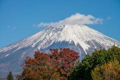 与雪盖帽的富士山 库存照片