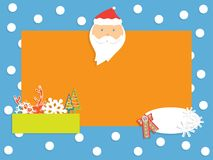 与雪花、圣诞老人、鹿和冷杉木的冬天横幅 皇族释放例证
