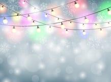 与雪花例证的五颜六色的灯圣诞节背景 库存照片