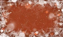 与雪花和发光的元素的冬天背景 库存图片