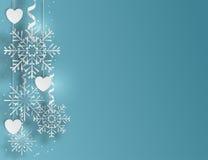 与雪花和心脏,传染媒介例证的蓝色背景 库存照片