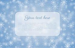 与雪花和拷贝空间的蓝色冬天背景 免版税库存图片