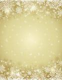 与雪花和星框架的米黄圣诞节背景  向量例证