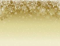 与雪花和星,传染媒介的米黄圣诞节背景 皇族释放例证