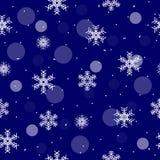 与雪花和白色圈子的圣诞节蓝色无缝的样式 库存图片