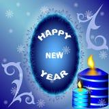 与雪花和蜡烛框架的新年快乐明信片  免版税库存照片
