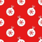 与雪花样式的圣诞节球 库存例证
