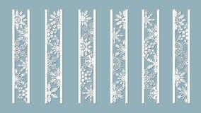 与雪花样式的装饰盘区 激光削减了装饰鞋带边界样式 套书签模板 适当的图象 向量例证