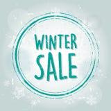 与雪花横幅的冬天销售 免版税图库摄影