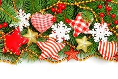 与雪花的五颜六色的圣诞节边界 免版税库存照片