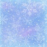 与雪花的冬天无缝的模式 图库摄影