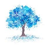 与雪花的冬天蓝色树 免版税库存照片
