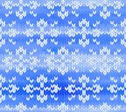与雪花的向量无缝的被编织的模式 图库摄影