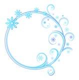 与雪花的圆的框架 库存图片