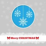 与雪花的圣诞卡模板 免版税库存照片