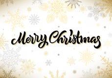 与雪花的圣诞快乐书法手拉的字法 皇族释放例证