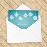 与雪花的圣诞快乐信件 免版税图库摄影