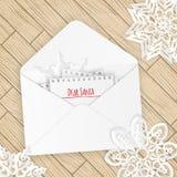 与雪花的圣诞快乐信件 免版税库存照片