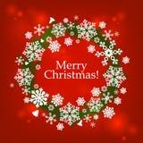 与雪花的圣诞快乐框架 库存照片
