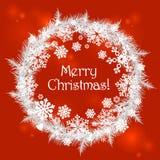 与雪花的圣诞快乐框架 库存图片