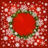 与雪花的圣诞快乐框架 免版税库存图片