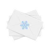 与雪花的圣诞节信封 免版税库存照片