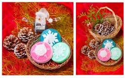 与雪花的圣诞节拼贴画-肥皂 库存图片