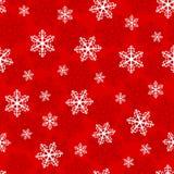 与雪花的圣诞节无缝的样式在红色背景 库存图片