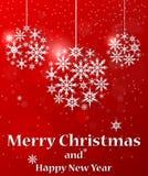 与雪花的圣诞节球在白皮书背景 库存照片