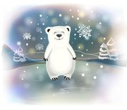 与雪花的小的北极熊在蓝色背景 圣诞节概念 向量例证