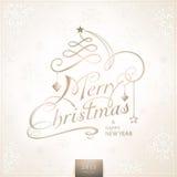 与雪花的手写的圣诞快乐卡片 免版税库存照片